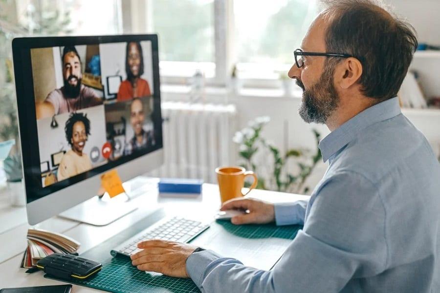 professor hosting webinar