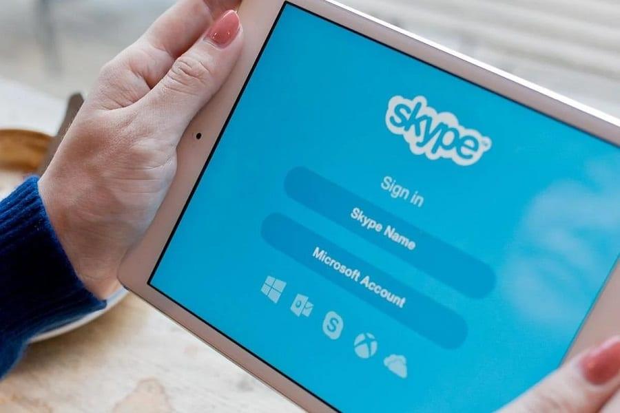 Skype login screen
