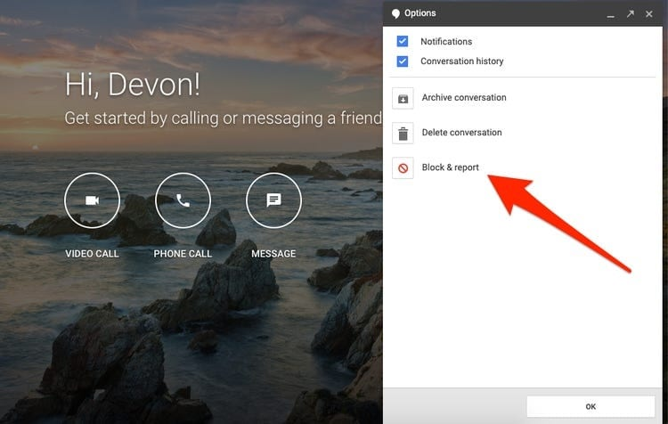 how to use block option on hangouts