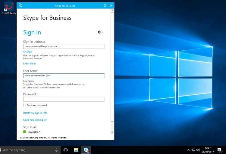 Skype for Business name and ID